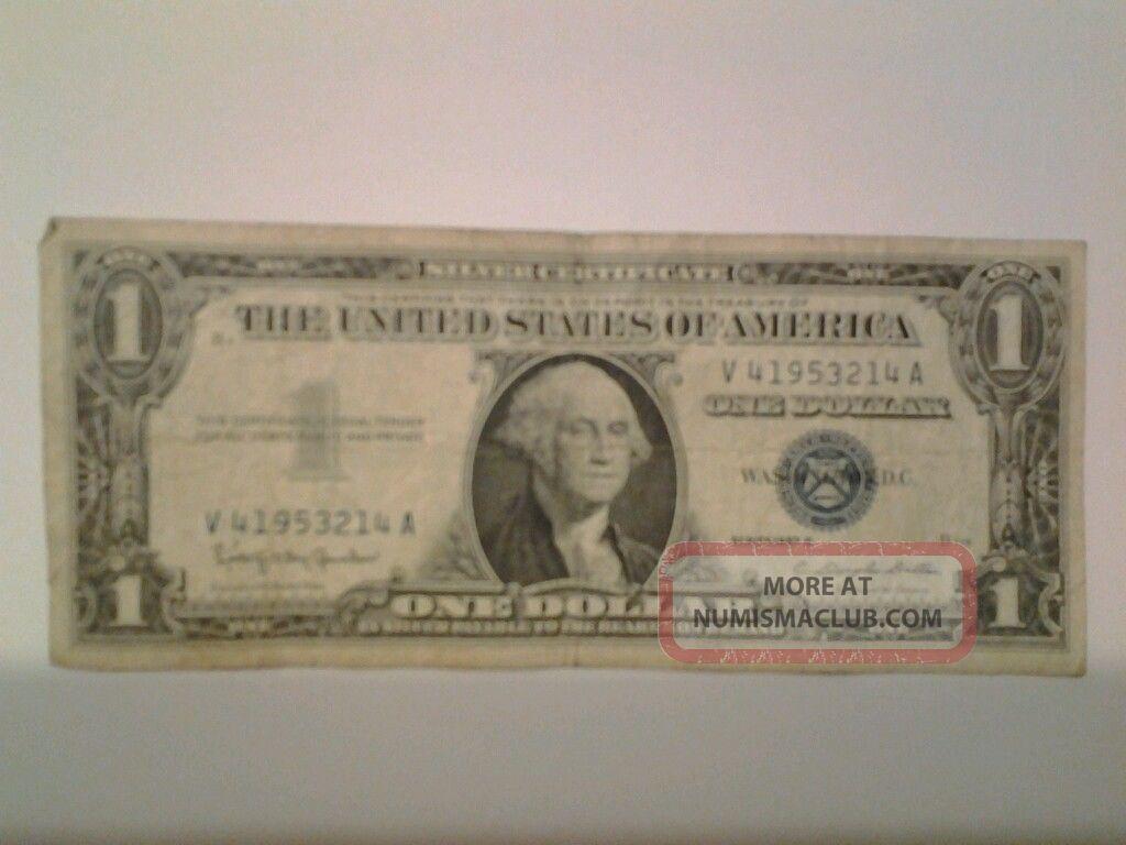 1957 blue seal 1 dollar bill us currency 81