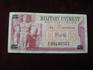 Military Payment Certificate 5 Cents Series 692,  Replacement Note Very Fine photo