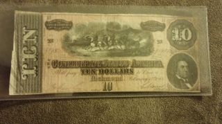 My Last 1864 Confederate Currency Guaranteed Orig.  $10 Ten Dollar Csa Bill 92986 photo