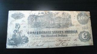Scarce 1862 $100 Confederate States Csa Note Locomotive Train 5 photo