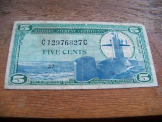 1969 - 70 5 Cent Series 681 Military Payment Certificate Ungraded photo