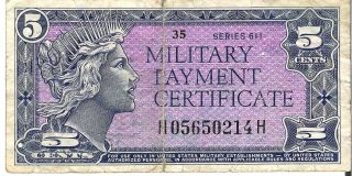 1964 - 69 5c Five Cents Military Payment Certificate Mpc Series 611 Rare photo