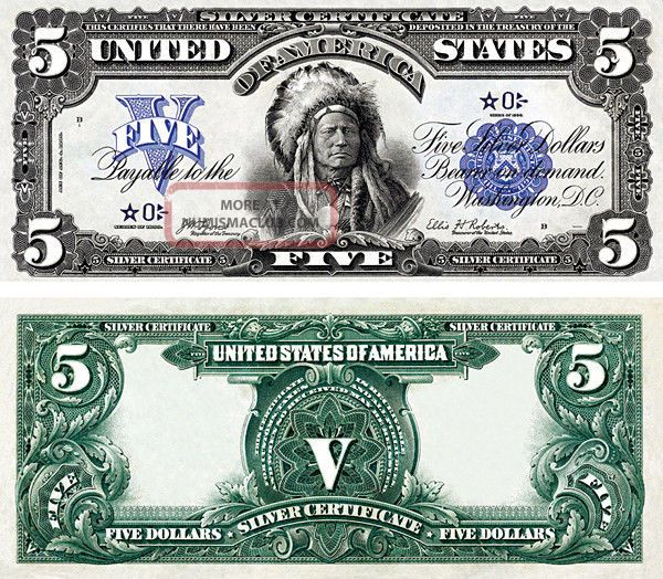 Series 1899 $5 Indian Chief Star Note Silver Certificate Copy Replica Paper Money: US photo