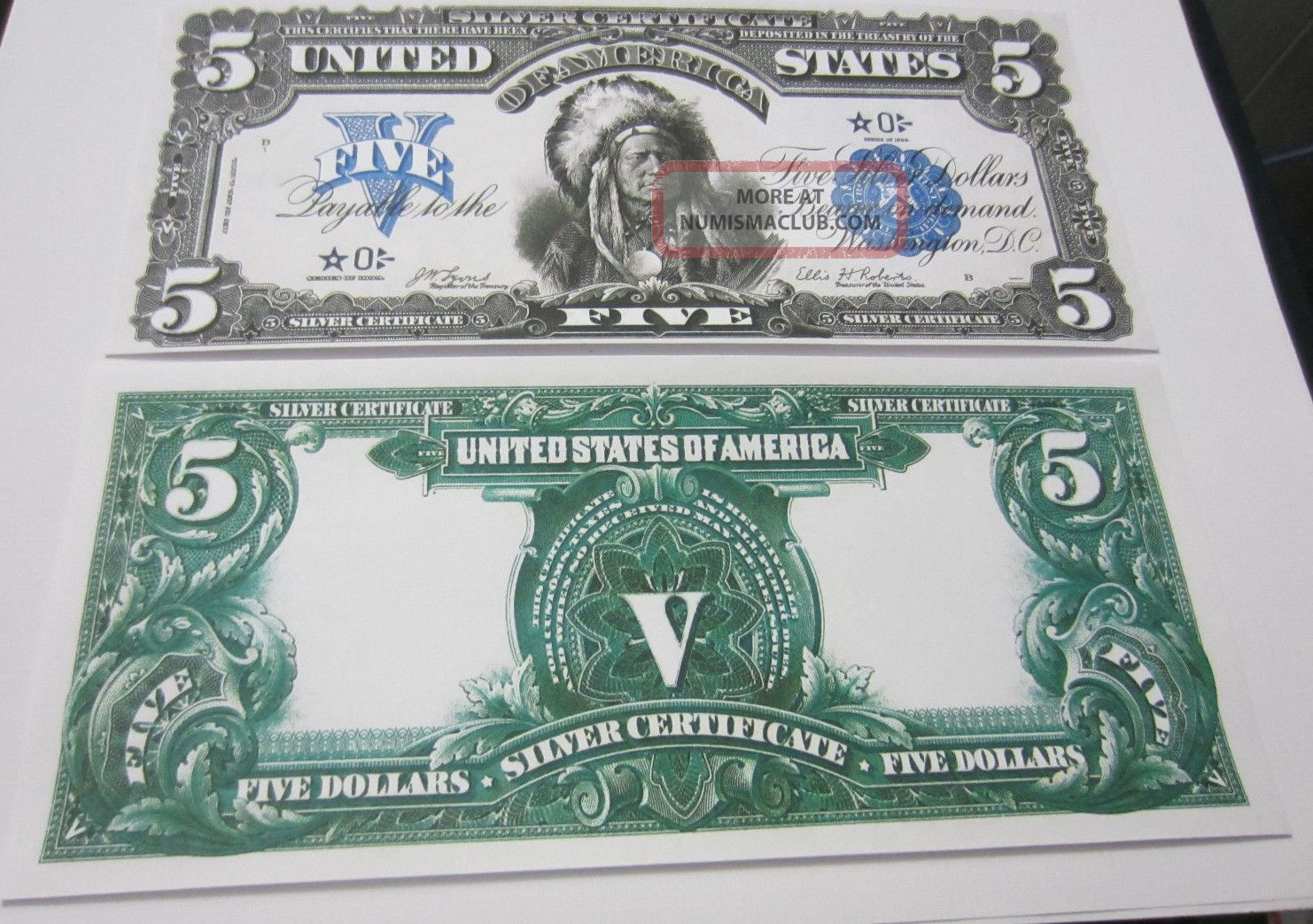 Series 1899 5 Indian Chief Star Note Silver Certificate Copy Replica