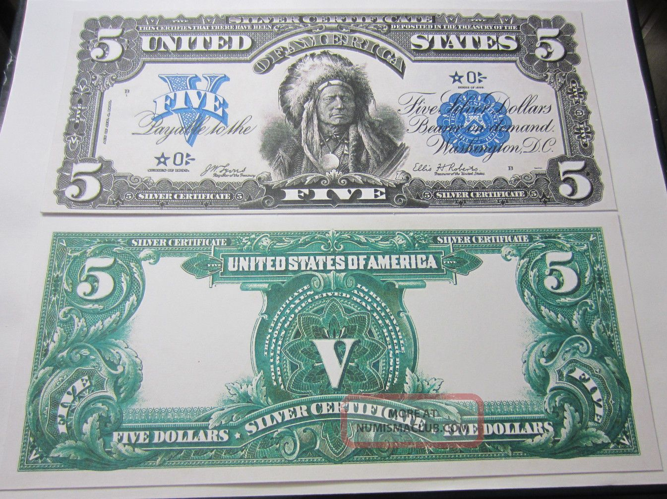 Copy Reproduction 1899 $5 Indian US Paper Money Currency Note