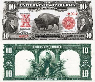 Series 1901 $10 Bison Lewis And Clark Star Copy Replica photo