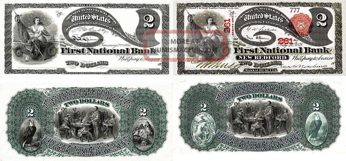 1866 And 1878 $2 Two Dollars Note Copy Replica National Currency Paper Money: US photo