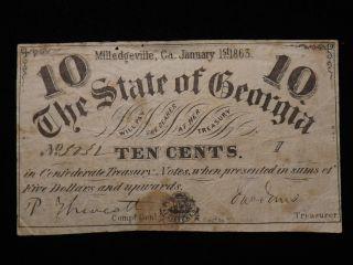 1863 Ten Cent Confederate Paper Note Civil War Era Circulated photo