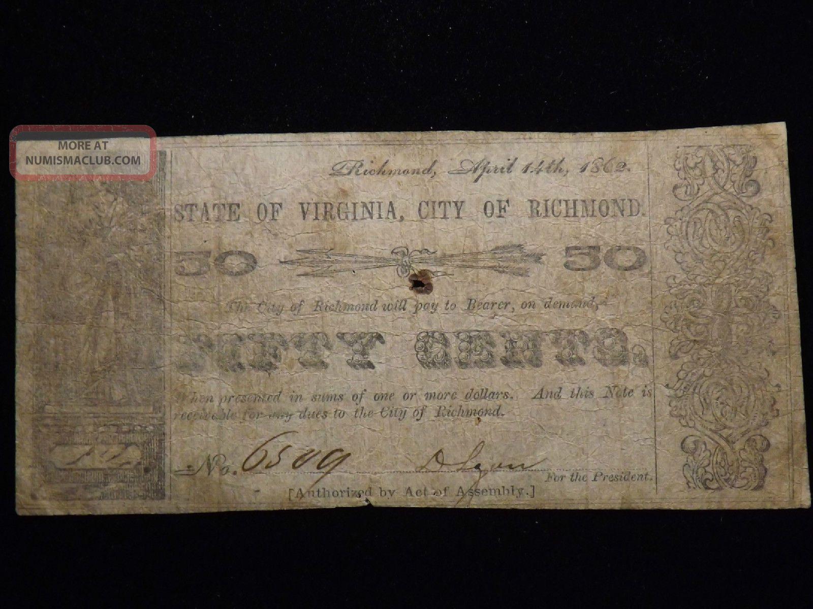 1862 Richmond Virginia Fifty Cent Paper Note Circulated Civil War Era Paper Money: US photo