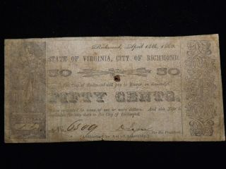 1862 Richmond Virginia Fifty Cent Paper Note Circulated Civil War Era photo