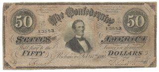 Confederate $50 Bill T66 Richmond 1864 photo