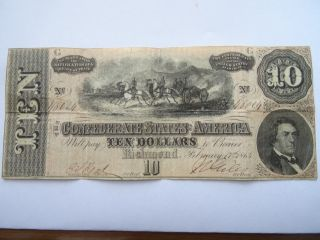 1864 $10 Dollars Confederate Currency Circulated photo