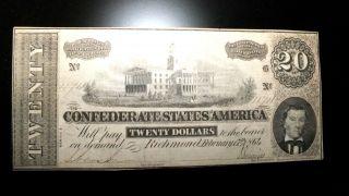 Scarce 1864 Richmond Va.  Csa Obsolete Civil War $20 Dollar Note photo