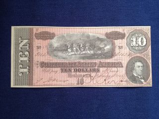 1864 $10 Confederate States Of America Large Note photo