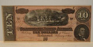 Uncirculated F 1864 $10 Dollar Bill Confederate Currency Civil War Era Note photo