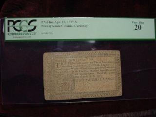 April,  10 1777 Pennsylvannia 6 Shillings Fr - Pa - 216a Pcgsvery Fine 20 photo