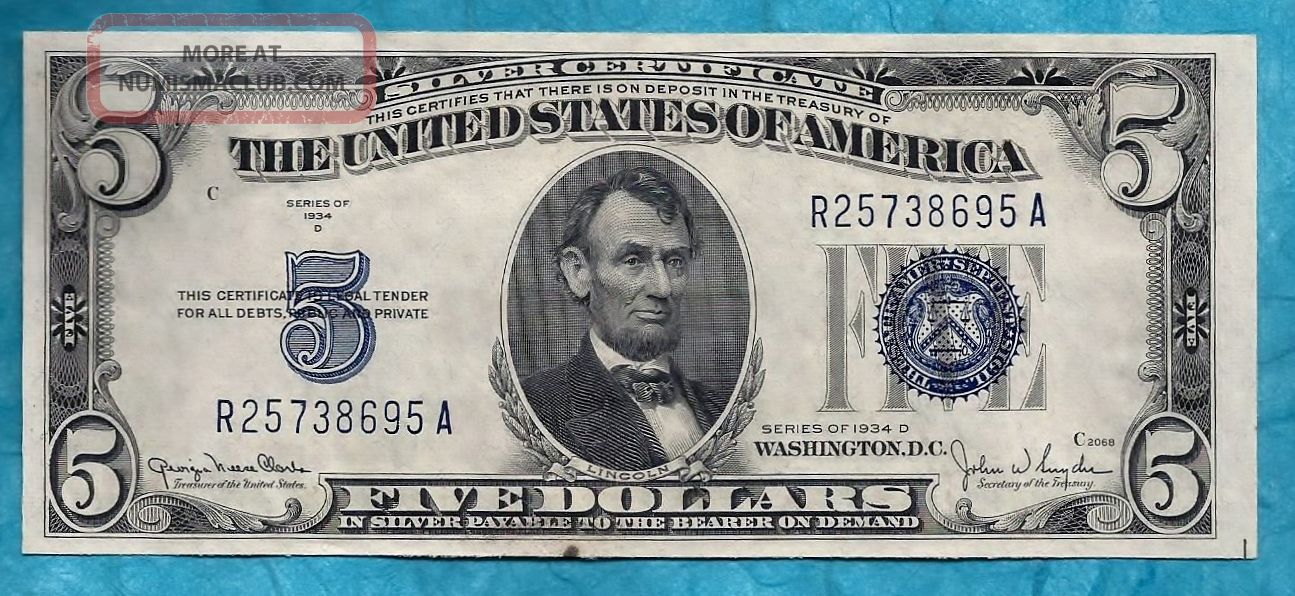 C1934 Uncirculated Crispy Silver Certificate Large Blue Seal Five
