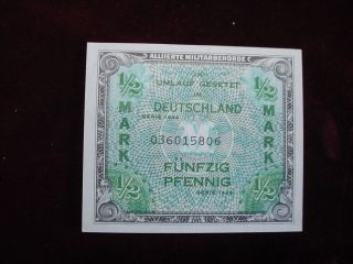 1944 Germany 1/2 Mark Allied Military Currency Scwpm 191a About Uncirculated photo