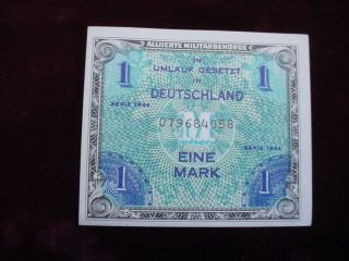 1944 Germany Eine Mark Allied Military Currency Scwpm 192a About Uncirculated photo