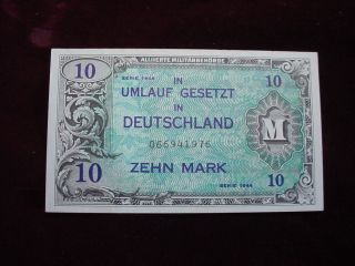 1944 Germany10 Mark Allied Military Currency Scwpm 194a About Uncirculated photo
