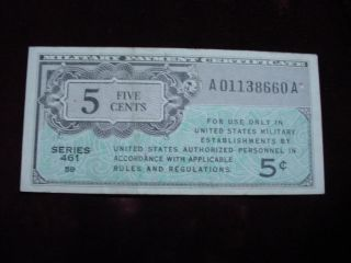 Military Payment Certificate 5 Cent Series 461,  Very Fine photo