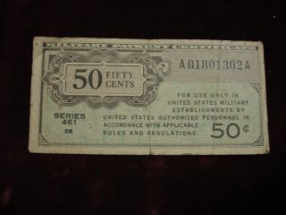 Military Payment Certificate 50 Cents Series 461 Fine photo