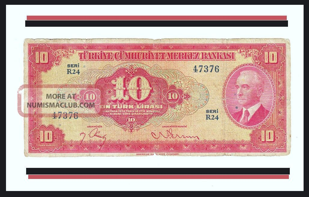 Turkey 10 Lira 4 Ems.  1947.  Af (6 / 10) P.  147 President Inonu Europe photo