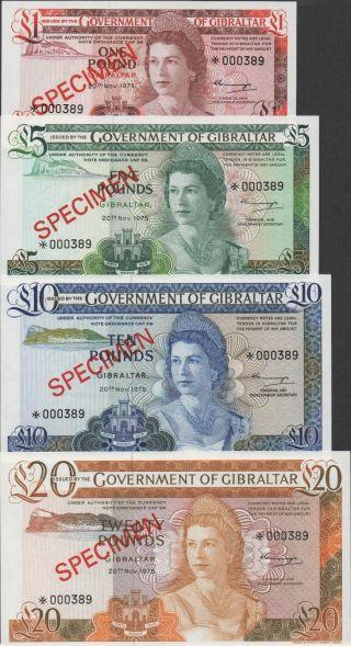 Gibraltar,  1,  5,  10 & 20 Pounds,  1970 ' S,  Cs 1,  Franklin M.  Specimen 000389 photo