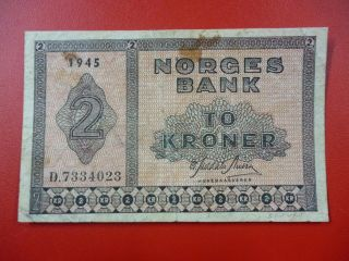 Norway Banknote 2 Kroner Pick 16a1 Vf - 1945 photo