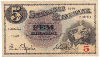 Sweden 5 Kronor 1949 Look Scan photo