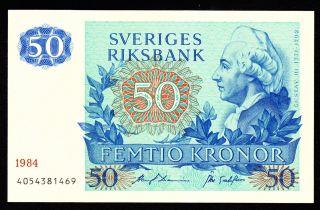 Sweden 50 Kronor 1984 Pick 53d Unc -. photo