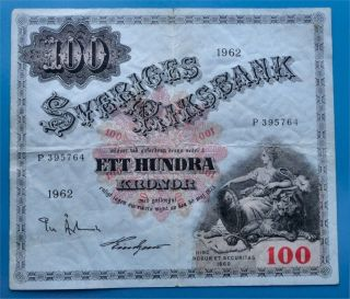 § Sweden 100 Kronor 1962,  Big Banknote,  Fine/very Fine photo