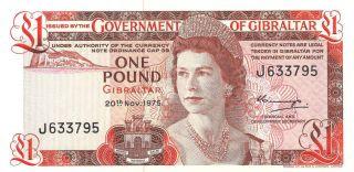 Gibraltar Government Note 1 Pound 20/11/1975 Pick - 20a Crisp Unc. photo