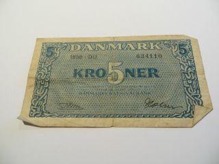 1956 Denmark Five Kroner Danmarks Nationalbank photo