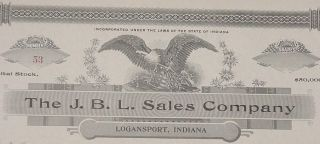 Early 1900 ' S Dr.  J.  B.  Lynas Stock Certificate Uncirculated Logansport,  Indiana photo