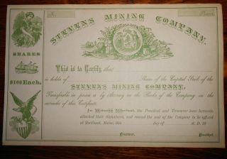 Stock Share Certificate: Stevens Mining Company Rockland,  Maine photo