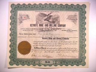 Stock Cert 1905 Ca Inyo County Keynote Mine And Milling Co 225 Sh 38 Beveridge photo