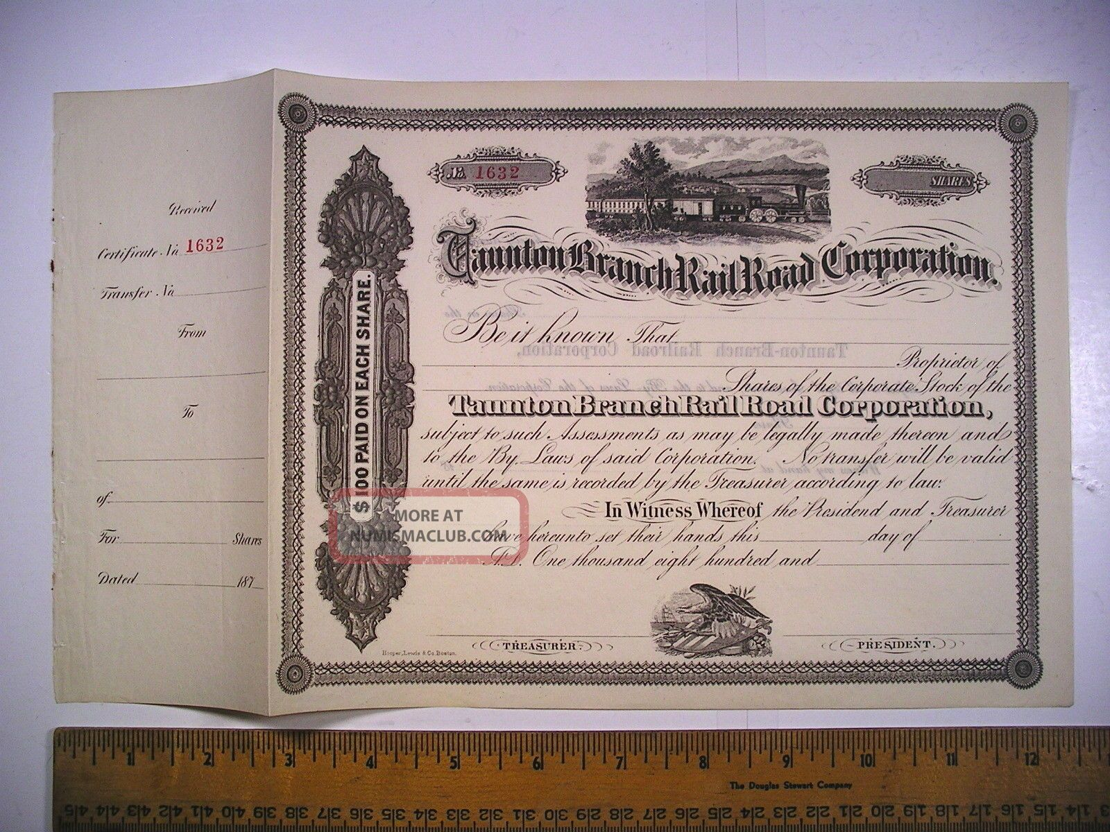 1800s Ma Stock Cert Taunton Branch Rail Road Corp Unissued 1632 Likely C1870s Transportation photo