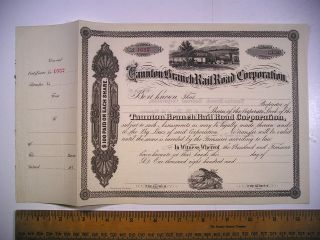 1800s Ma Stock Cert Taunton Branch Rail Road Corp Unissued 1632 Likely C1870s photo