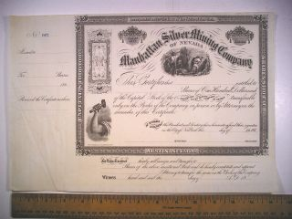 186_ Stock Cert Manhattan Silver Mining Co Of Nevada Unissued 607 photo