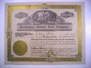 1921 Wv Stock Cert Huntington Cannel Coal Co 2 Sh 159 photo