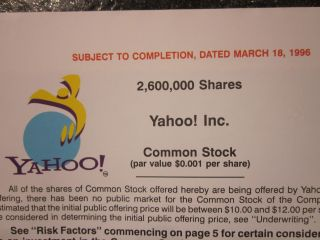 Yahoo Rare 1996 Ipo Prospectus Stock Market Investment Public Offering photo
