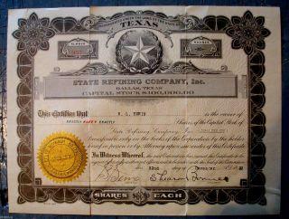 1922 Texas Refining Co.  Inc.  Stock Certificate Dallas,  Texas 957 Ship photo