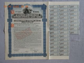 Austria Government International Loan 1930,  500 £ With 36 Coupons Not Cancelled photo