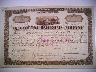 1888 Bond Old Colony Railroad Co Massachusetts $1000 Vignette Train & Ships photo