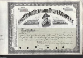The Wayne Title & Trust Company Mad Anthonty Wayne 19 Century Stock Certificate photo