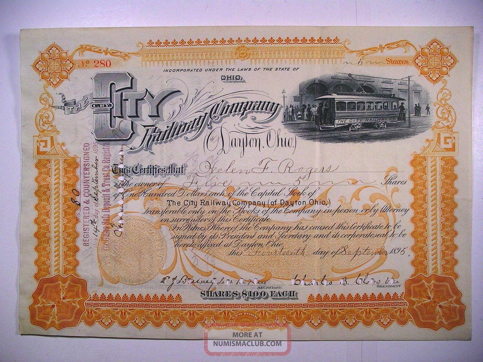 1895 Com Stock Cert City Railway Co Of Dayton Ohio 5 Sh Vig Electric Streetcar Transportation photo