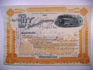 1895 Com Stock Cert City Railway Co Of Dayton Ohio 5 Sh Vig Electric Streetcar photo