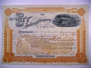 1895 Com Stock Cert City Railway Co Of Dayton Ohio 25 Sh Vig Electric Trolley photo