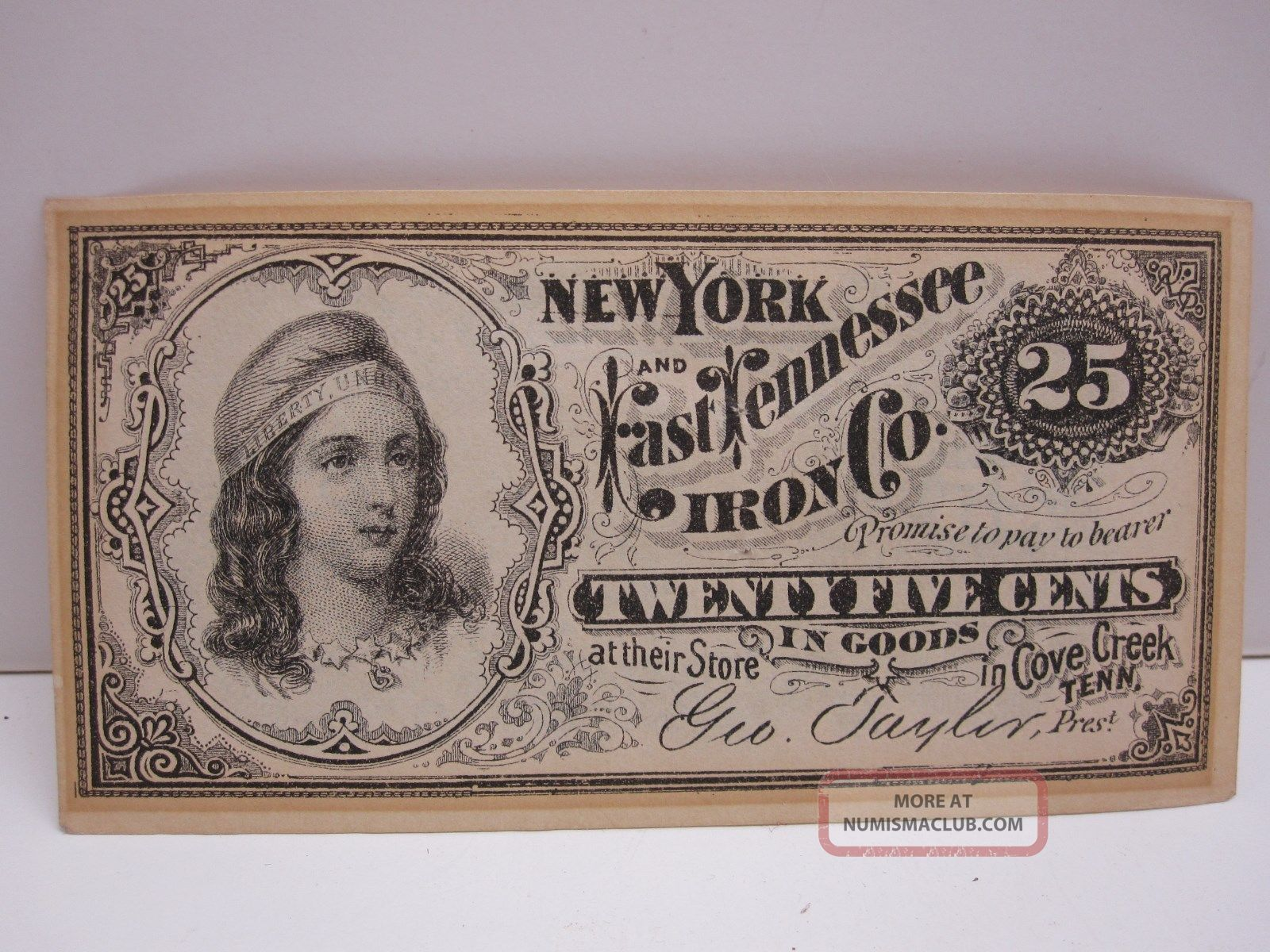 York And East Tennessee Iron Company 25 Cent Fractional Script Note Stocks & Bonds, Scripophily photo